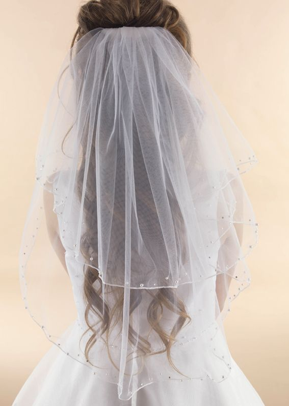 Pearl & Diamante Edge Communion Veil -LA145