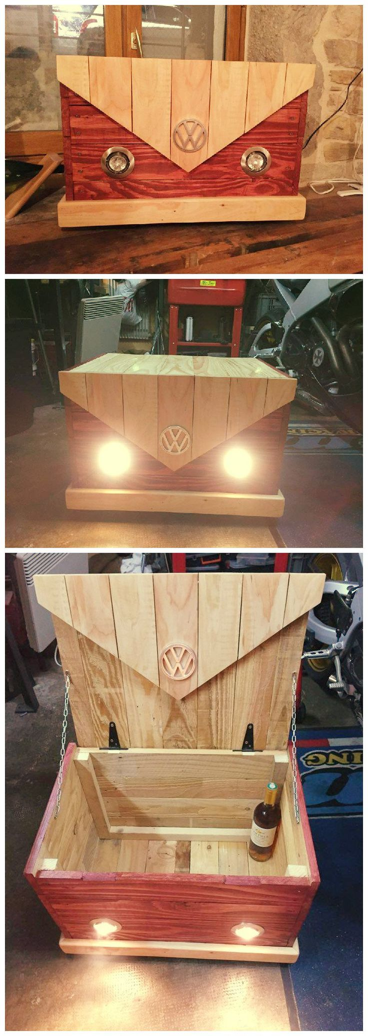 One of our Facebook Fan (Alexia) sent us these beautiful pictures of a storage box she made to look like vintage VolksWagen van. Isn't that fancy? We do no