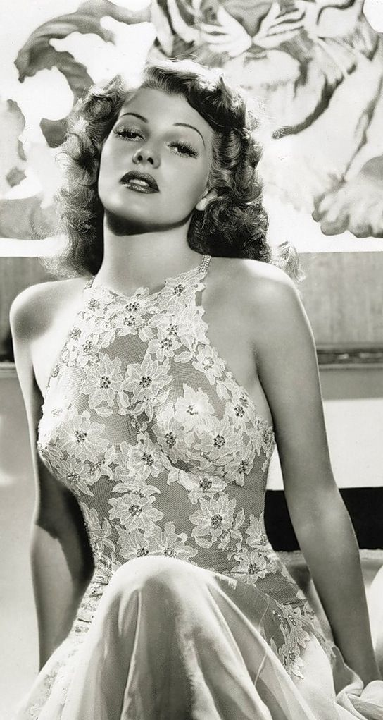sublimely gorgeous image of Rita Hayworth in daring see-through laced dress (1918 Oct17 - 1987 May14, d. @68 from Alzheimer's) Am. dancer / film actress in 61 films over 37 years, in American Film Institute's 100 Greatest Stars of All Time • catholic parents, dad from Spain, mom Irish-Brit
