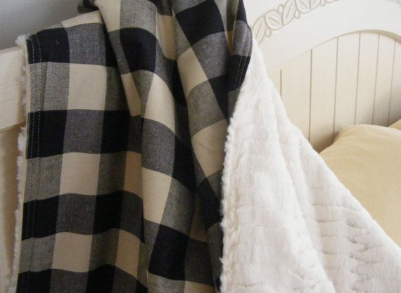 Buffalo check in cream and black baby crib blanket.  Woodland plaid buffalo…