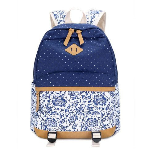 """Size:Width:33(CM)/12.99"""";+Height:45(CM)/17.72"""";+Thickness:15(CM)/5.91"""";+  Color:Royal+blue/Black/Blue/Rose+red/Khaki  Weight:600g  Material:Canvas+Printed  Style:leisure/Travel  Fashion+Element:Floral  Capacity:Can+Hold+14+inches+Laptop+  Internal+Structure:Zip+Pocket/Cell+Phone+Poc..."""