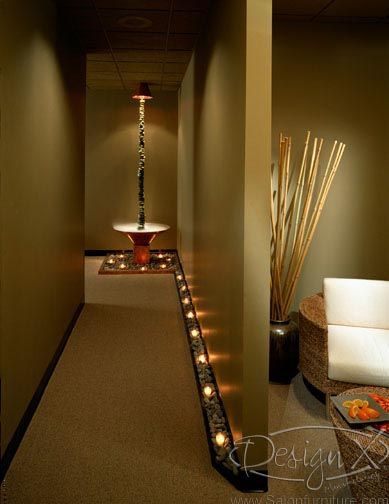 Lights along hallway  Photo Gallery of Salon and Spa Design | Design X Mfg | Salon Equipment, Salon Furniture, Pedicure Spa