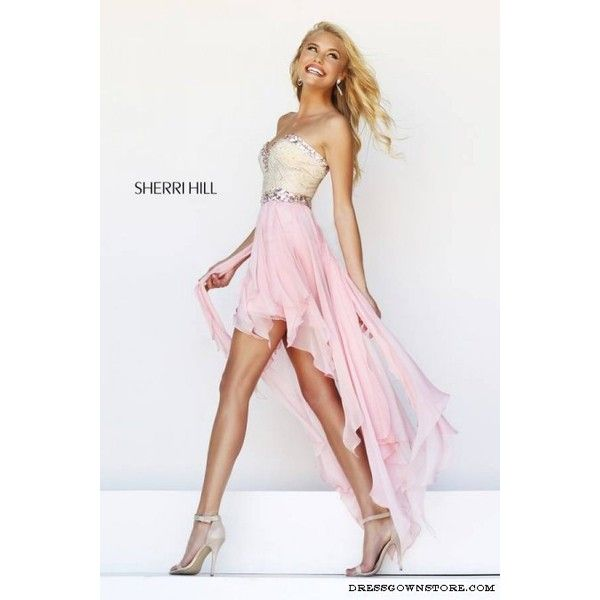 Sherri Hill 1920 Pink High Low Prom Dress (€160) ❤ liked on Polyvore featuring dresses, sherri hill 1920, hi lo dresses, mullet dress, short front long back prom dresses, pink hi lo dress and pink hi low dress