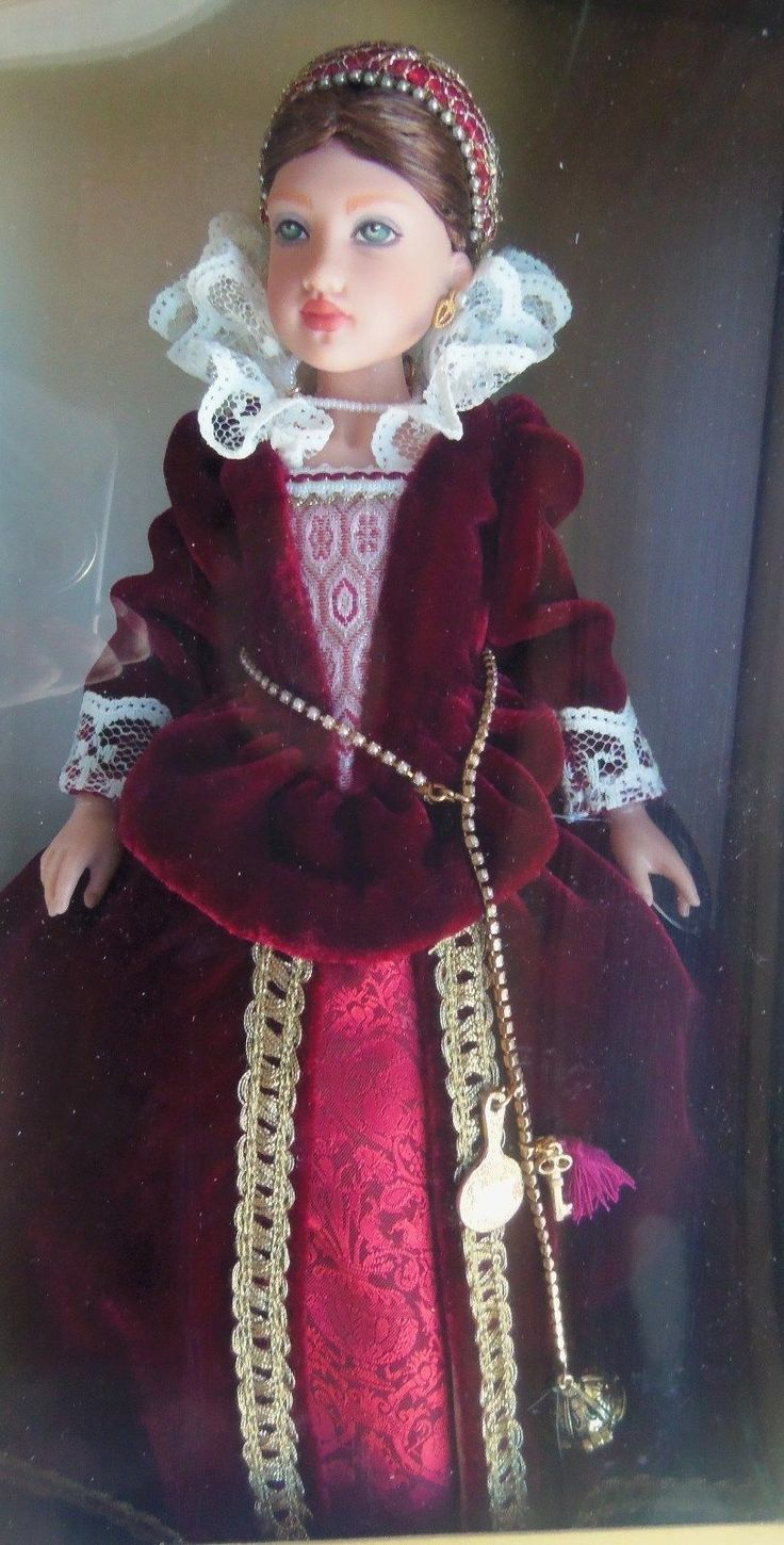 "This is one of the Girls of Many Lands dolls done by American Girl and doll artist Helen Kish from 2002 to 2005. She is Isabel of England, 9"" tall, mint in the box with book. She represents a girl in the Tudor English court about 1592. 