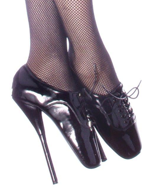 Devious Ballet-18 Black Patent Ballet Heels Shoes