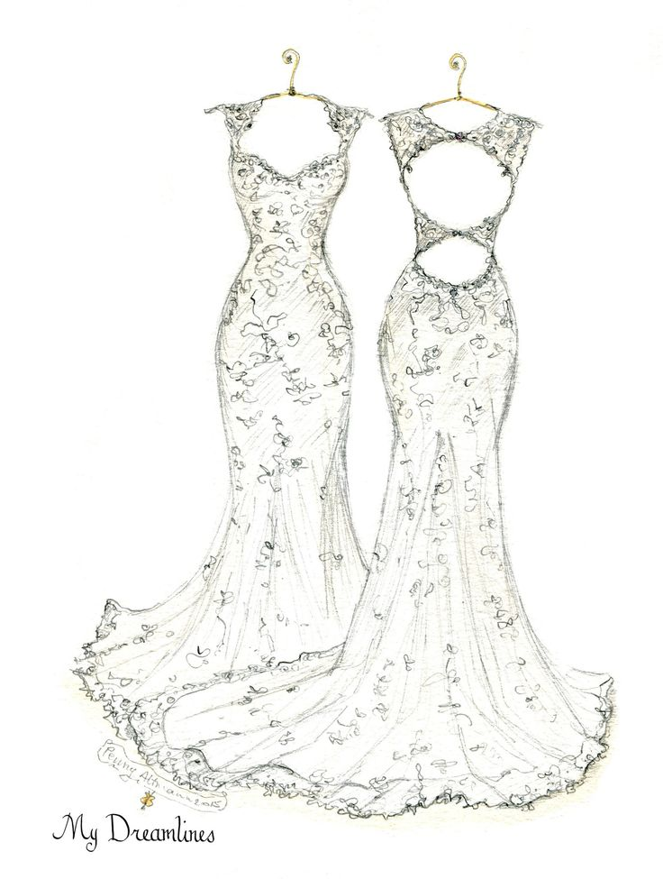 Perfect Personal Wedding Dress Front u Back Sketch
