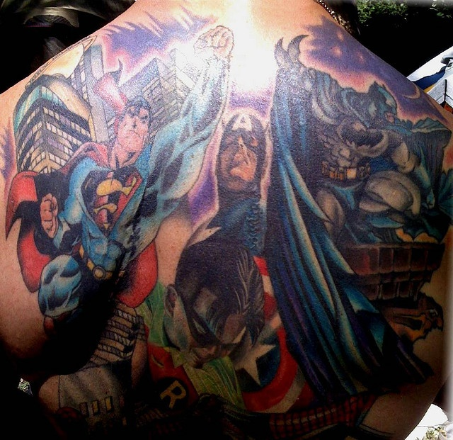 Super heroes back tattoo by mxtruck via flickr for Marvel comics tattoos