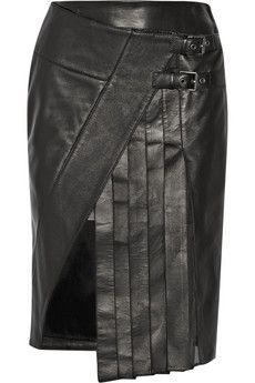 Belstaff Beatrix wrap-effect leather skirt   THE OUTNET