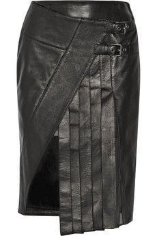 Belstaff Beatrix wrap-effect leather skirt | THE OUTNET