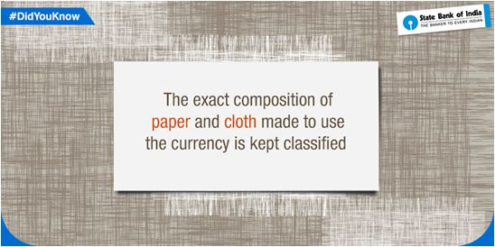 #DidYouKnow The exact composition of paper and cloth used to make the Indian currency note is kept classified. #StateBankOfIndia #SBI #StateBank