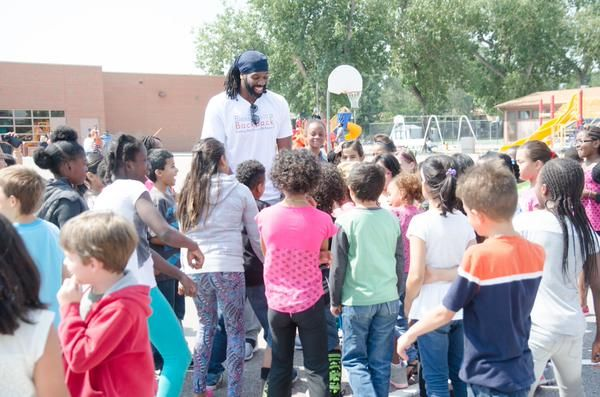 "Washington #Wizards' Nene Hilario made an appearance during the lunch hour at Eastridge Elementary. ""Not only have the Hilario's filled their tummies, they have allowed the students' brains and bodies to learn and grow."""