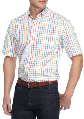 Saddlebred Fv Grn Big  Tall Shirt Sleeve Easy Care Plaid Shirt