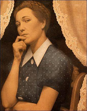 The Perfectionist - 1936 By Grant Wood. The joke is that one of the lady's buttons is not completely fastened.