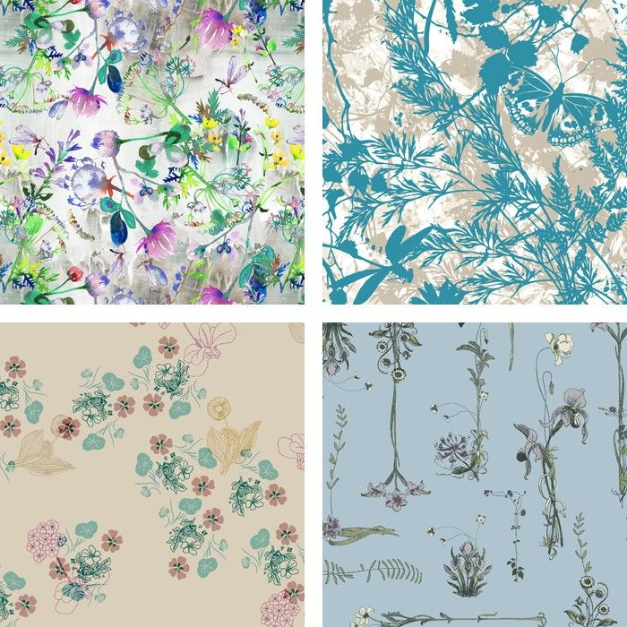 TREND-EDIT-Meadow-ANNIE'S LACE BY SOFIA PERINA-MILLER / BLUE GARDEN BY PRINTMUSE / BOTANICAL FLORAL STUDIES BY ELEANOR VORSTIUS / ROMANTIC FLOWERS BY MARIA ISABEL RODRIGUEZ
