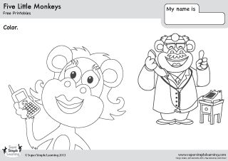 5 little monkeys coloring page - 1000 images about ingl s on pinterest kindergarten