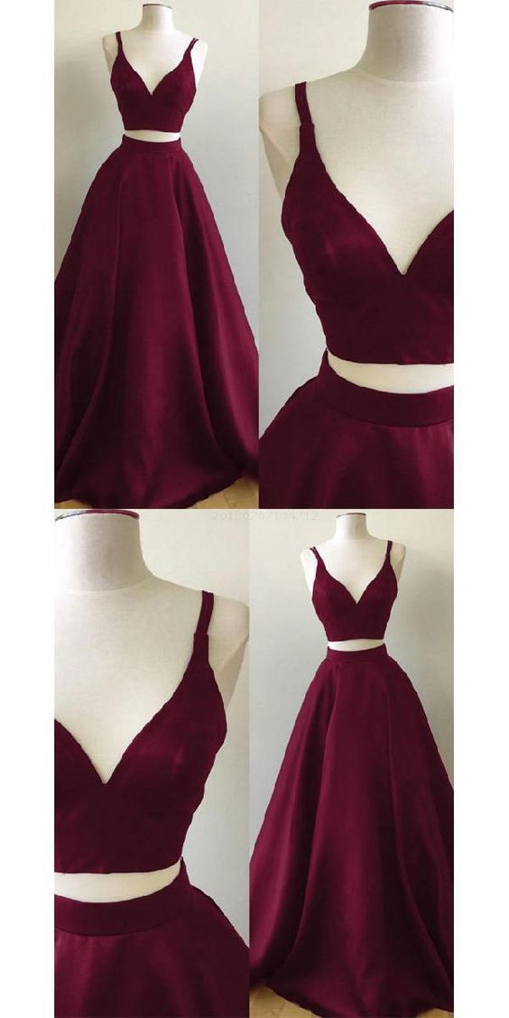 Amazing Customized Easy A-Line Prom Dress, Two Pieces Prom Dress, V Neck Prom Dress,