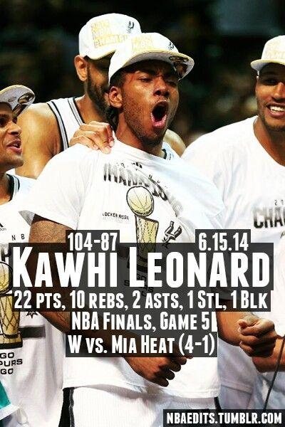 Spurs Kawhi Leonard Game 5 Stats vs Heat. 2014 NBA FINALS