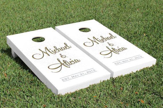 Wedding Cornhole Boards Custom Full Name by JRHCornhole on Etsy