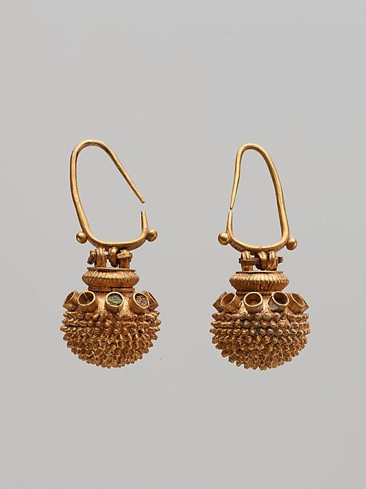 Pair of spherical gold earrings, 4th or 5th century b.c.; gold and enamel.