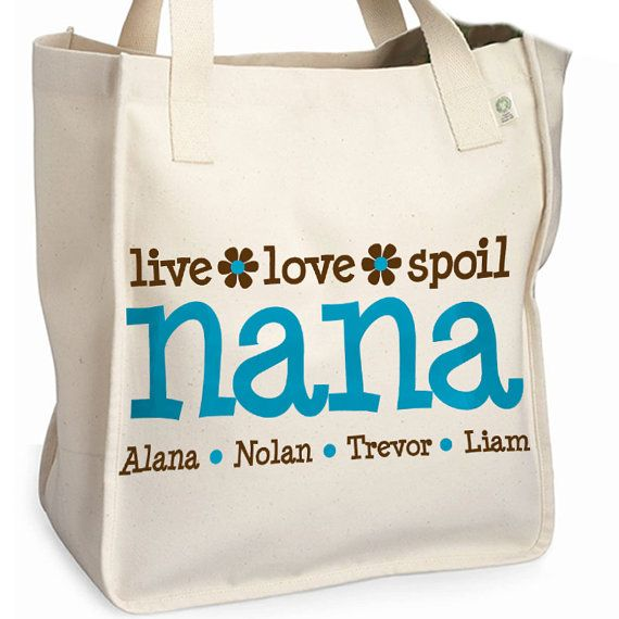 personalized nana or grandma tote bag great mother's by zoeysattic