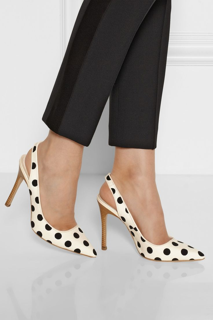 Katie Grand Loves Hogan Polka-dot canvas slingbacks