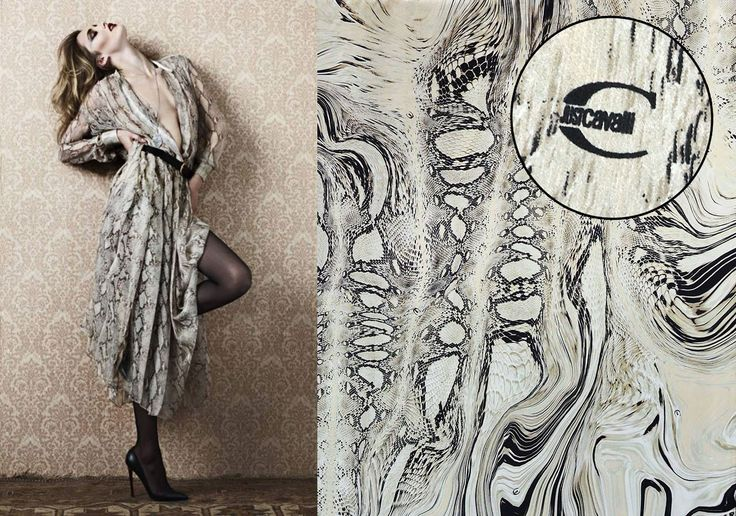 This gorgeous printed satin silk signed JUST CAVALLI is the perfect fabric choice for a dress like the one in this image. available now here: https://www.malagoli.ro/en/product/mr-32-2 #MalagoliFabrics #Fabrics #Silk #SatinSilk #PrintedSilk