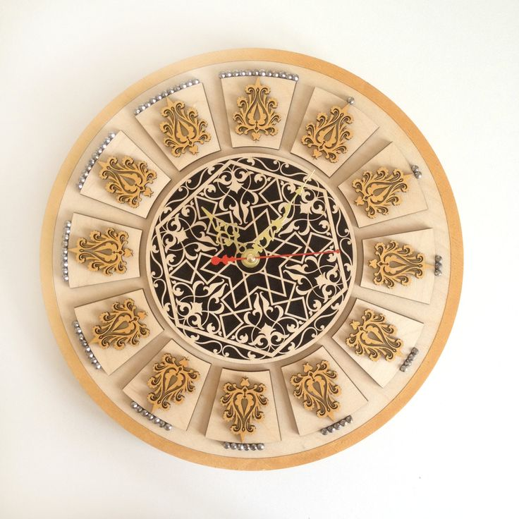 Gold ornamental Wall Clock for your home interior / Unique wall Clock / Housewarming gift / Wall clock / Modern wall clock / Wall clock wood by DOSHE on Etsy