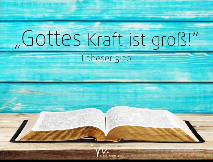 """""""#Gott aber #kann viel mehr #tun, als wir #jemals von ihm #erbitten oder uns auch nur #vorstellen können. So #groß ist seine #Kraft, die in uns wirkt."""" #Epheser 3:20 #glaubensimpulse"""