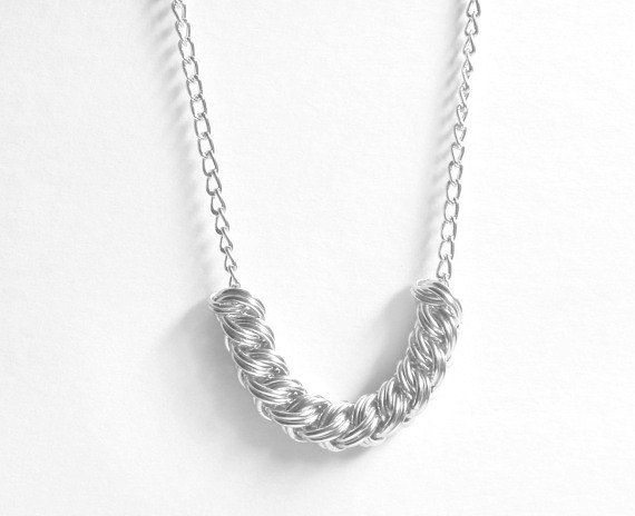 Woven Rings Necklace / Chain Maille Jewelry / by ChainMettle