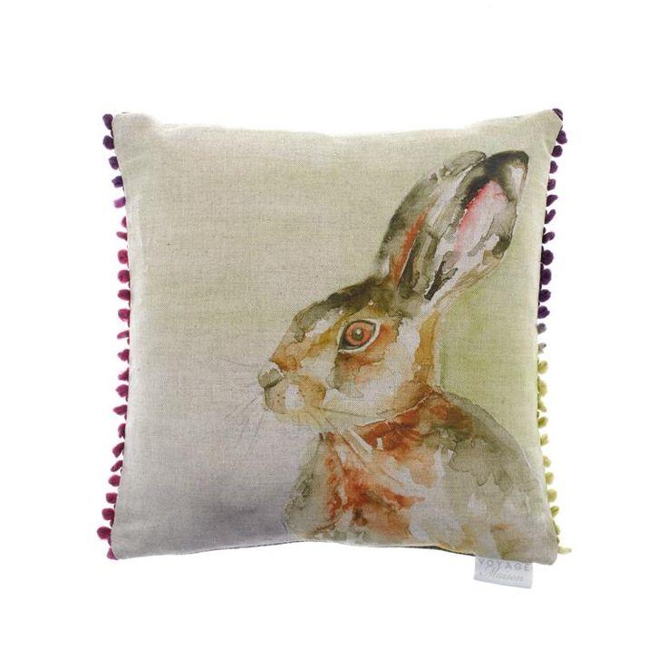 Voyage Maison Hazel Hare Cushion Available at www.thegreatbritishhome.com #madeinbritain #homedecor #cushion #thegreatbritishhome #hare #bunnycushion #countrystyle #watercolour #voyagemaison