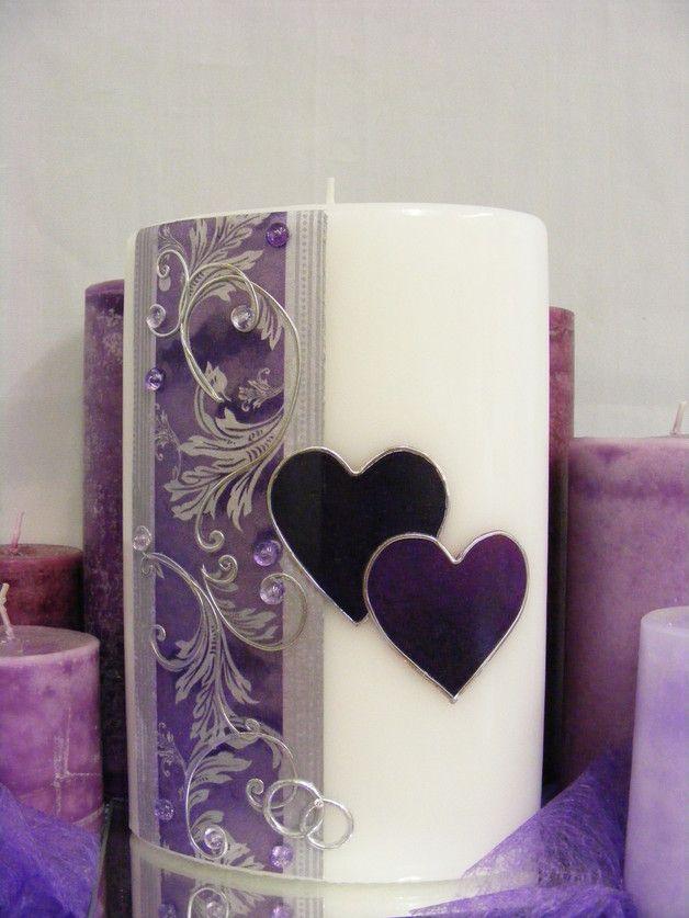 Hochzeitskerzen & Beleuchtung - Hochzeitskerze*Barock in Lila*inkl.Beschr.+Versand - ein Designerstück von wachslaedle bei DaWanda