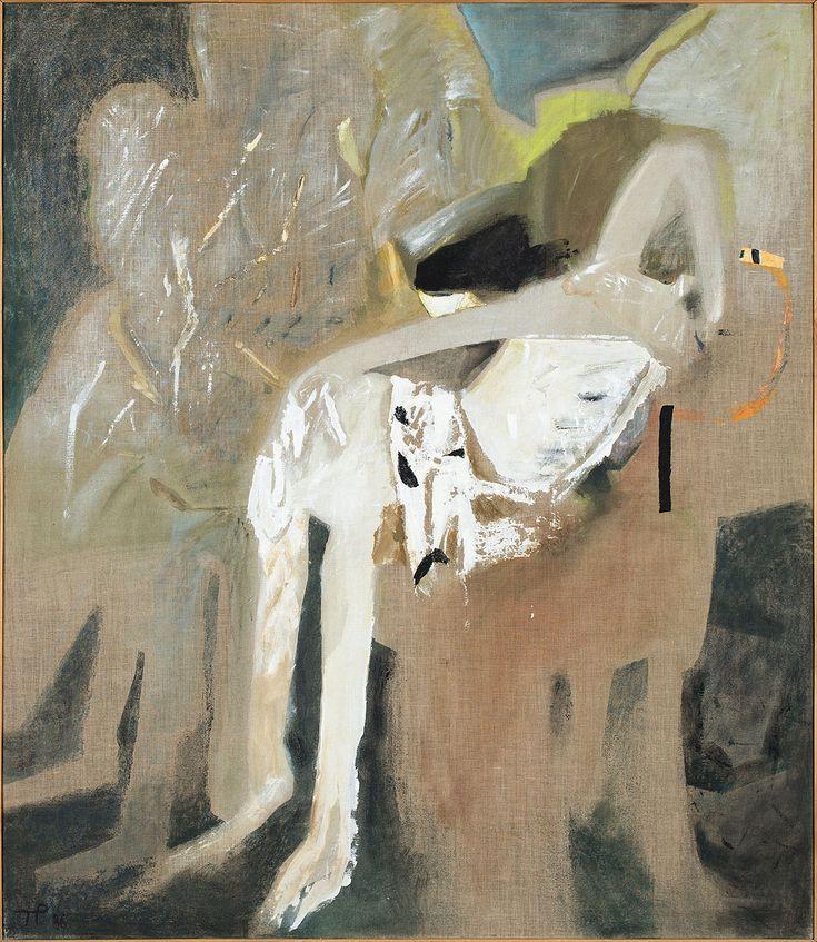 TERESA PĄGOWSKA (1926 - 2007)  ZDJĘCIE Z KRZYŻA, 1986   olej, płótno / 160 x 140 cm  sygn. l.d. monogramem artystki: T.P. 86