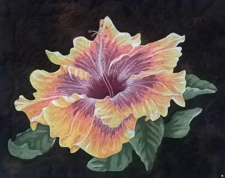 Applique quilt Hibiscus