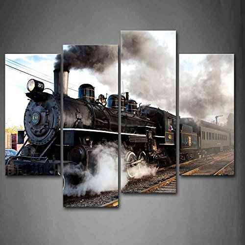 A Car And Train With Gray Smoke Steam Trains In Progress Wall Art Painting The Picture Print On Canvas Car Pictures For Home Decor Decoration Gift Firstwallart http://www.amazon.com/dp/B00RDDZS90/ref=cm_sw_r_pi_dp_.IO-wb06NG16Z