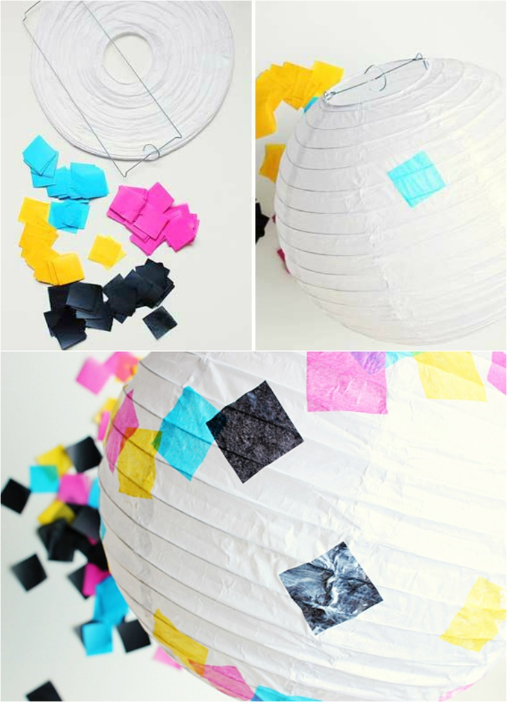 diy lanterns  (for camp, do them with circles and Candyland colors!!)