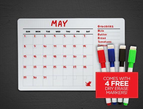Dry Erase Acrylic Calendar with Notes  Wall Calendar  Fridge