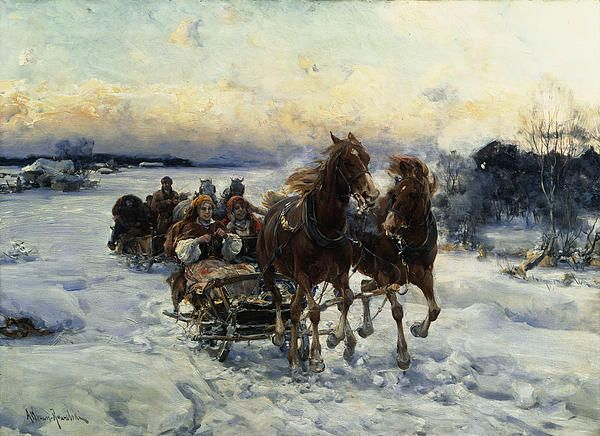 The Sleigh Ride by Alfred von Wierusz Kowalski - The Sleigh Ride Painting - The Sleigh Ride Fine Art Prints and Posters for Sale