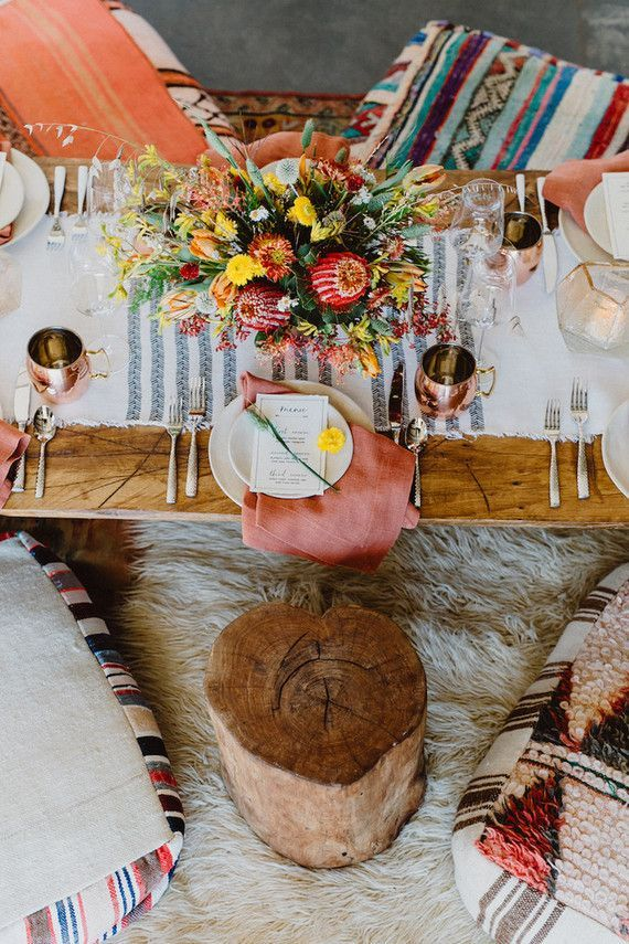 bohemian tablescape full of texture