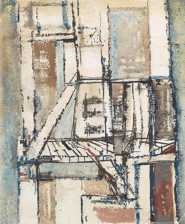 Maria Helena Vieira da Silva (Portuguese, 1908-1992), Le Piano. Gouache on canvas, 56 x 46.5 cm.
