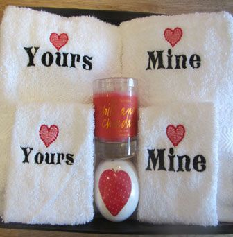 Yours & Mine Embroidered Towels > Engagement & Wedding Gifts > Gift Hampers > Hampermania > Baby Gifts, Christening Gifts, Personalised Gifts, Hampers