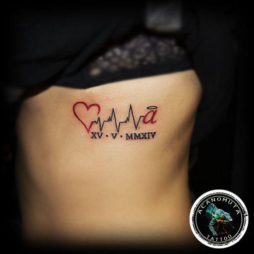 Kαρδιογραφημα με γραμματα τατουαζ suggested by Acanomuta tattoo