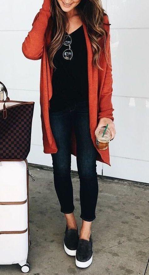 #fall #style #fashion #Long #burnt #orange  Long burnt orange sweater, black l