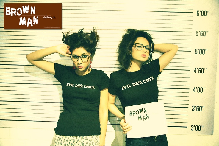 Our Evil Desi Chick models during our 2013 Model Contest photo shoot. Nailed these shots!  Check out brownmanclothing.com for more funky South Asian themed tshirts.