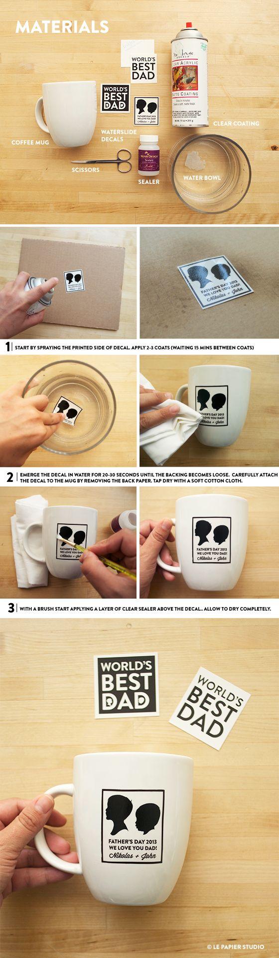 DIY Tutorial | Father's Day Silhouette Coffee Mug #lepapierstudio #giftsfordad