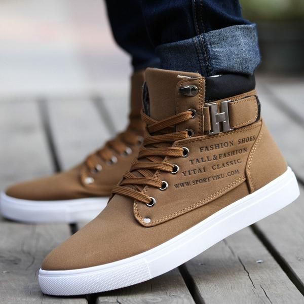 Sapatos Tenis Masculino Male Fashion Spring Autumn Leather Shoe For Men Casual High Top Shoes Canvas Sneakers - Mopixie Toys  - 1