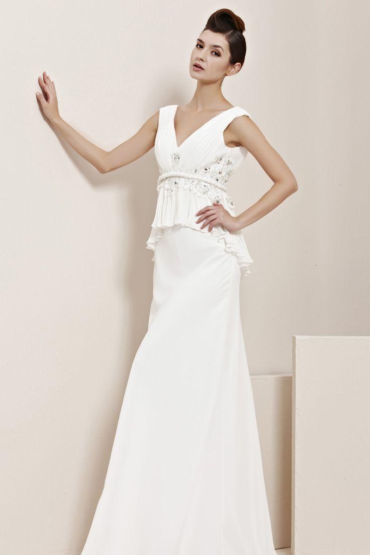 Deep V Neckline White 2013 Designer Prom Dress