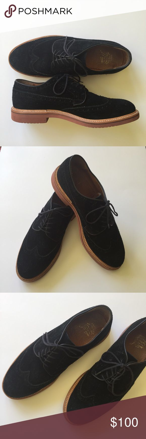 J. Crew Kenton Suede Wingtips Amazing pair of J.Crew Kenton Suede Wingtips. Such a classic shoe. J. Crew's designers took a cue from the iconic wing-tip details and added a genuine Goodyear-welt construction. That means the sole is sewn on rather than cemented for more durable and breathable wear. It also means that you can replace the sole over and over again. In excellent pre-owned condition. Suede upper. Size 10.5. Black. No trades! J. Crew Shoes Oxfords & Derbys