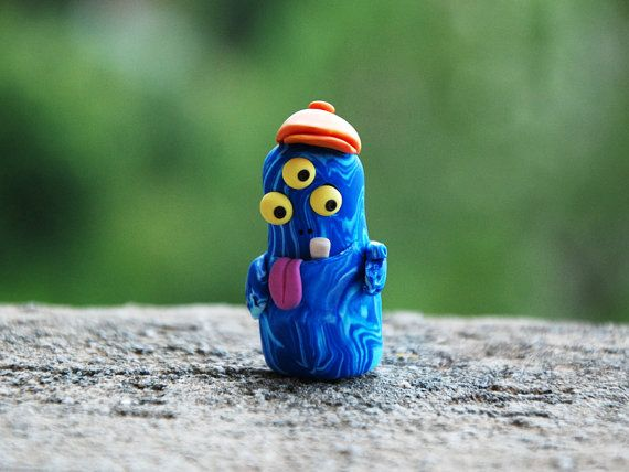 Three eyed monster, cute fantasy figure, wee folk miniature, marbled figurine, italian hat, weird tongue out, OOAK polymer clay funny figure