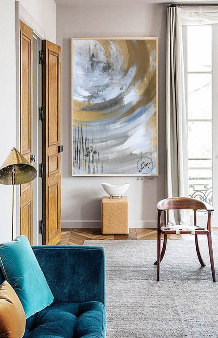 Extra Large Canvas Art Gold Leaf Abstract Painting Blue Etsy Canvas Art Wall Decor Extra Large Canvas Art Canvas Art Painting
