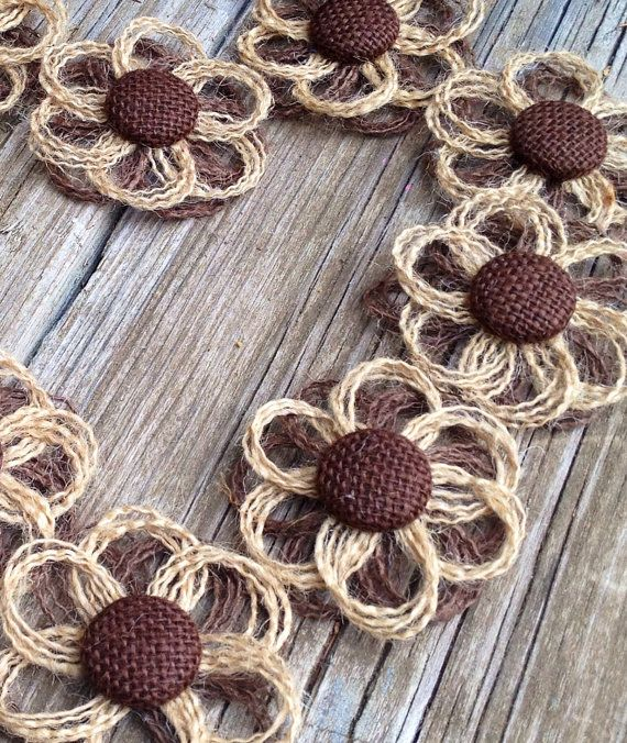 This listing is for a set of 10 burlap handmade flowers. Each flower is approximately 2 1/2 - 3 in diameter and comes with a soft felt backing. Discounts for bulk orders. Different color or size? Questions ? Convo me!  See what others are saying:  Quick delivery, great communication and looked just as the pictures show.  Love these beautiful flowers and how quick I received them!  gorgeous product! will order from again! fast shipping!!!  Each flower is handmade by me. I try extra hard t...